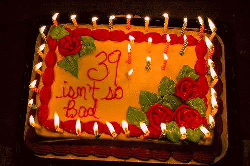 39th Birthday Cake Candles Lit Wish Making In Progress