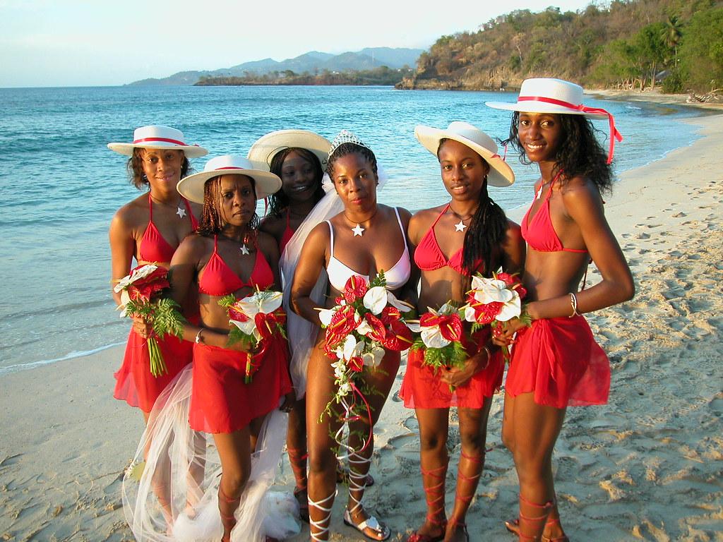 """Bride And Bridesmaids At """"bikini Wedding"""