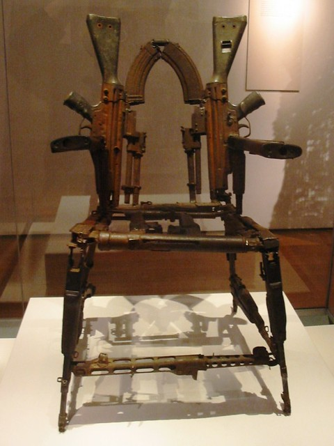 terrifying ak47 chair  Throne of Weapons made of ak47s