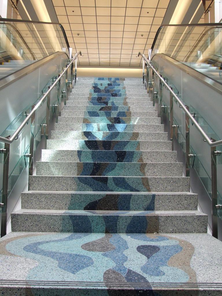 Terrazzo Cascade  This terrazzo floor is a rendering of