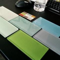 White Tile Backsplash Kitchen Glass Door Handles 3