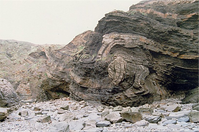 Fractured Overthrust Fold at Broad Haven  This text book