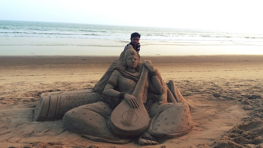Sand Art Goddess Saraswati by Manas Kumar Sahoo  at Golden Sea Beach Puri