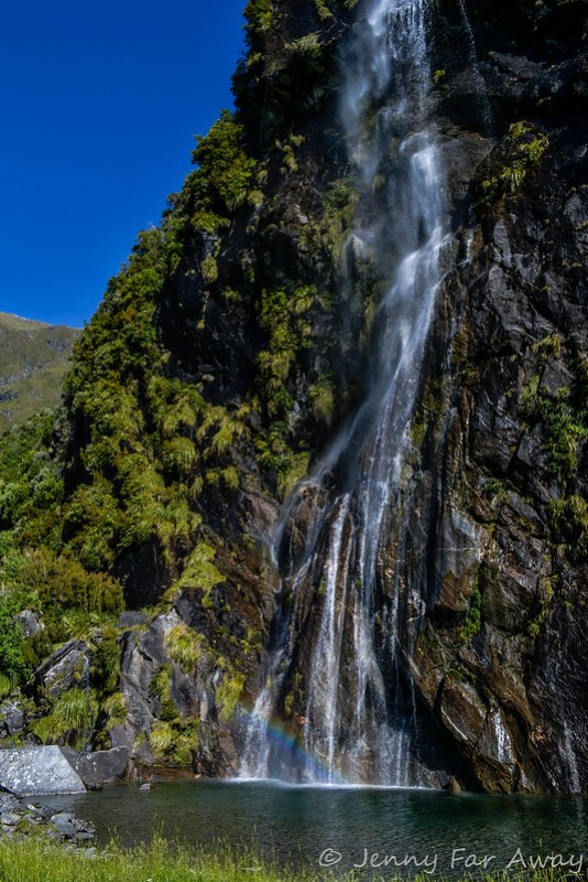 A waterfall along the road to Rob Roy Glacier.