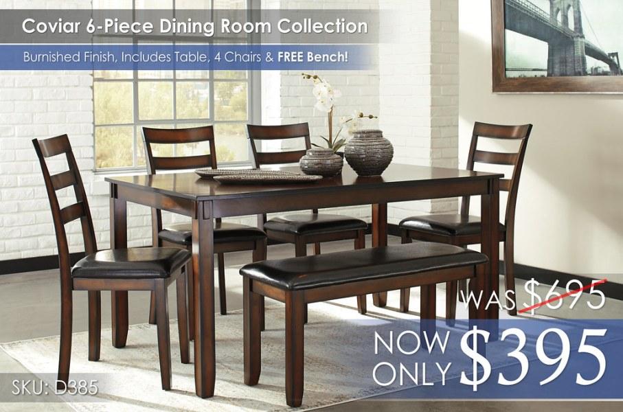 Coviar 6-Piece Dining Room Set wBench D385