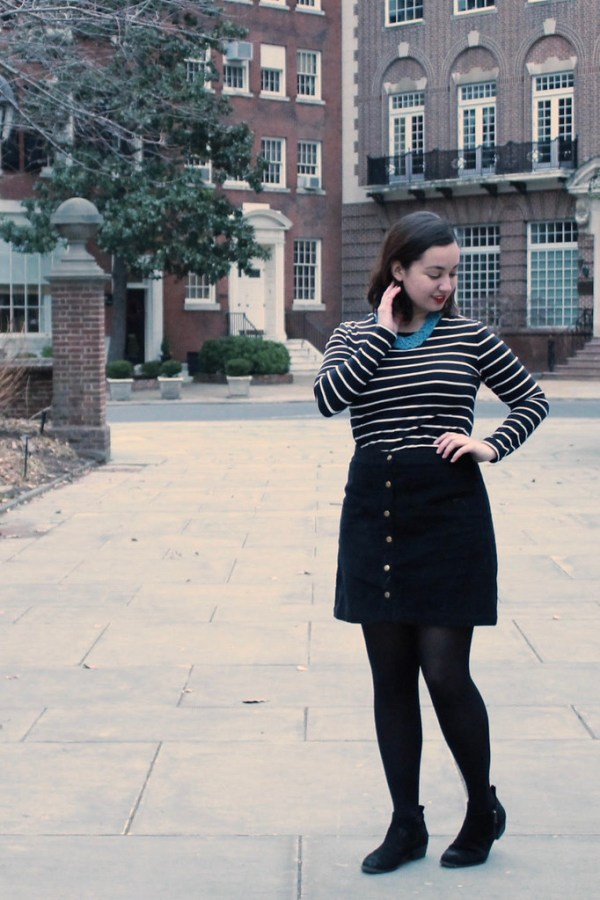 Striped Top and Button Front Skirt | Shades of Sarah
