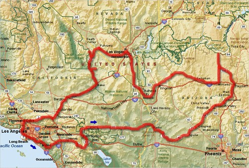 Route map Arizona Nevada California Map showing our 8