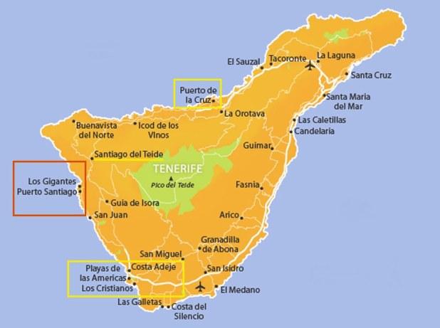 Mapa Tenerife Los Gigantes