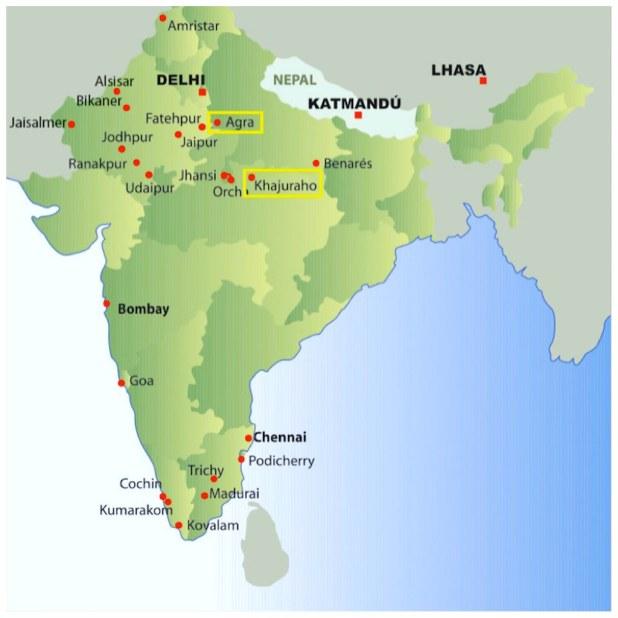 Mapa Agra a Khajuraho