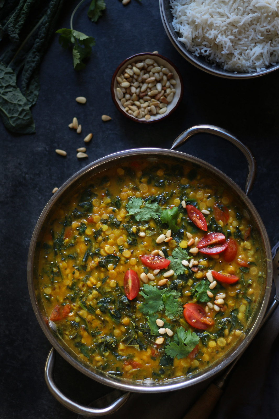 Cremy Healthy Kale Lentil Daal -Indian style, Vegan #indiandaal #vegetarian