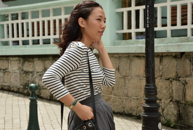 Uniqlo striped breton top, rockstar grey midi skirt, green gucci watch, classic style