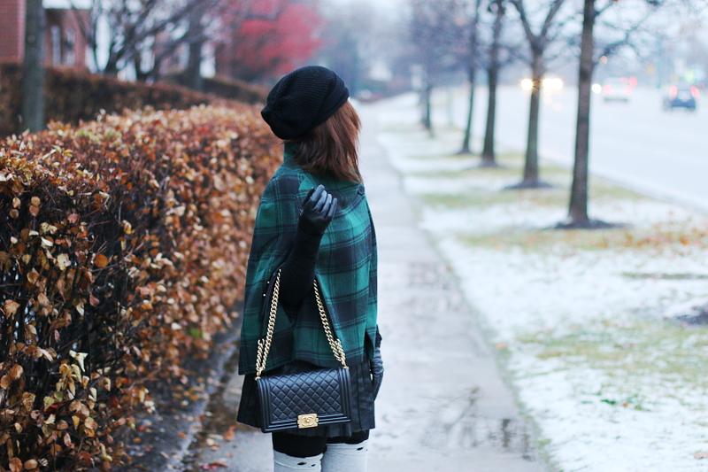 green-plaid-cape-chanel-bag-beanie-4