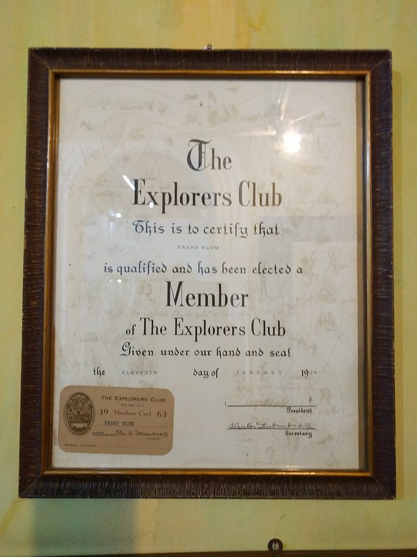 Frans Blom, co-founder of Na Bolom, was a member of the Explorers Club. It seems like this would have been a fun club to be part of!
