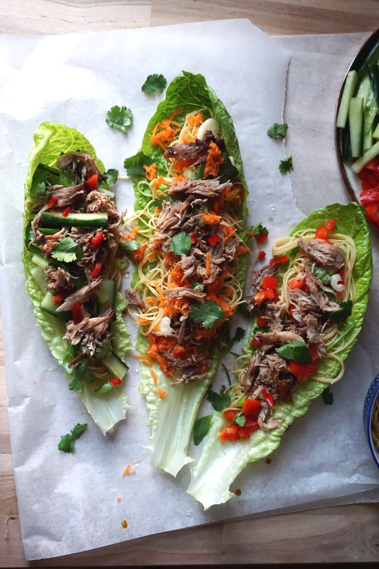 Gluten free Chinese crispy duck lettuce wraps with easy basic Singapore noodles