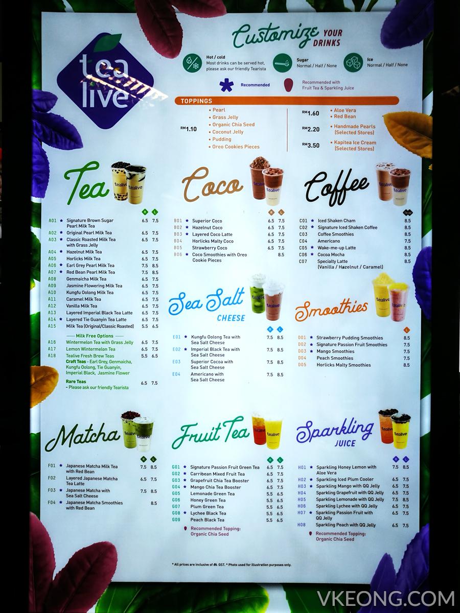 Menu Chatime 2016 : chatime, Tealive, Malaysia, Promotion, (Previously, Chatime, Malaysia)