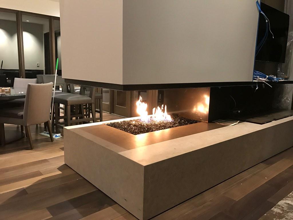 Custom 3 Sided Open Gas Fireplace