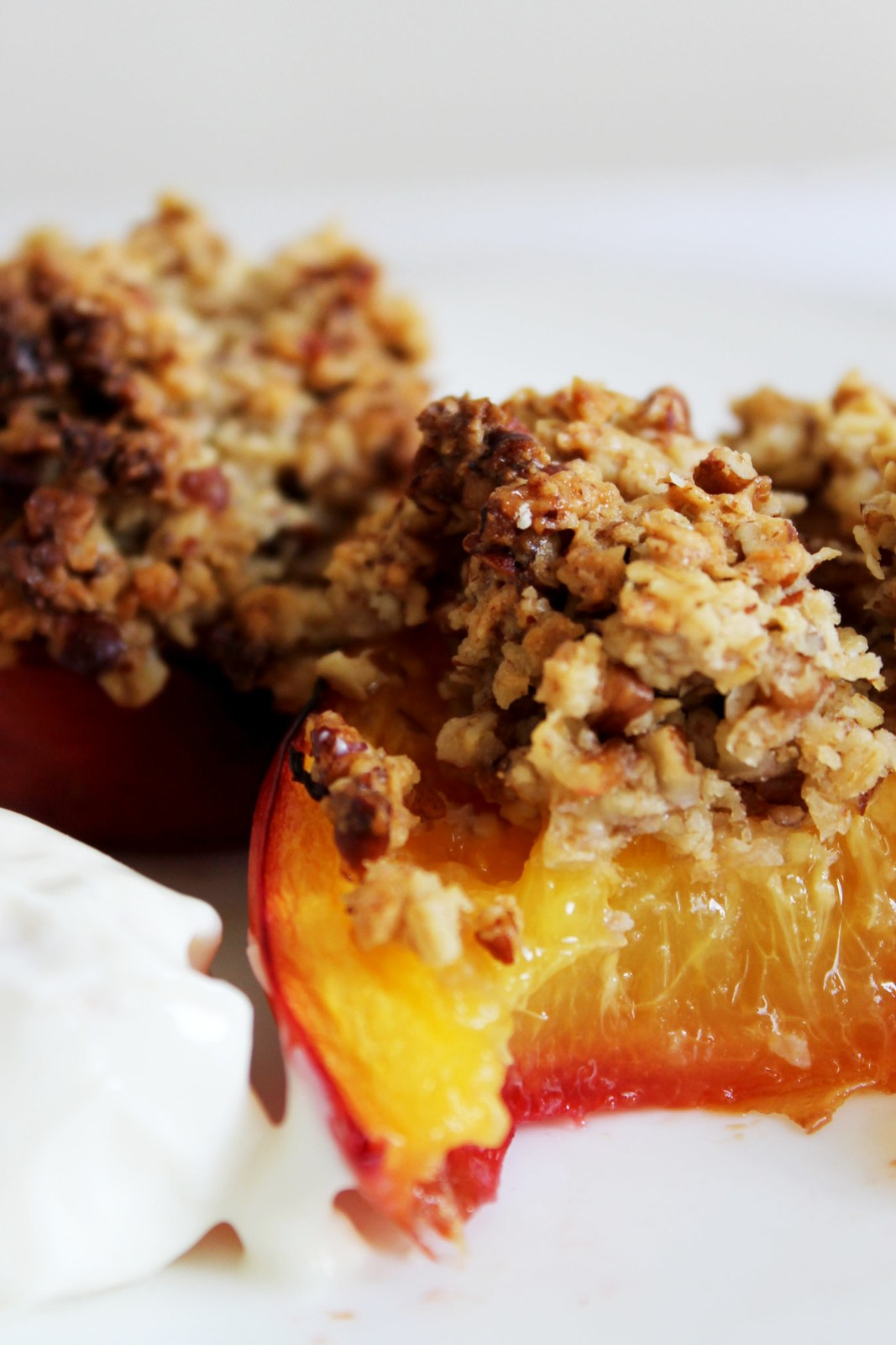 Maple Pecan Baked Peaches
