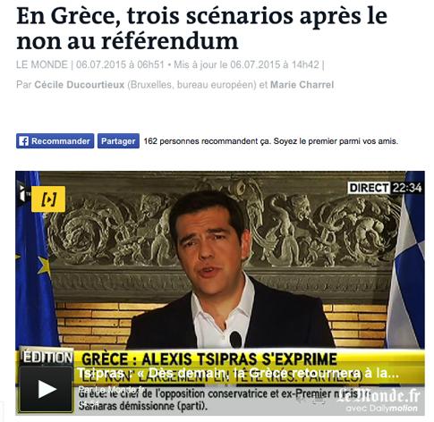 15g06 LMonde Tres escenarios tras el referéndum griego
