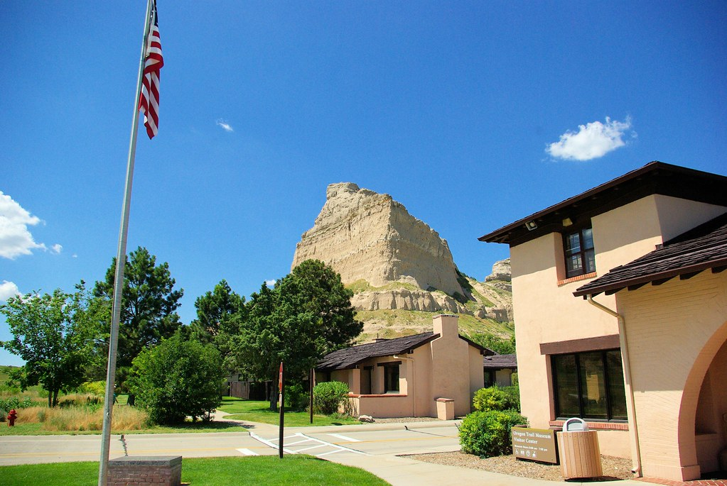 Eagle Rock above Park Buildings, Scotts Bluff National Monument, Nebraska, July 9, 2010