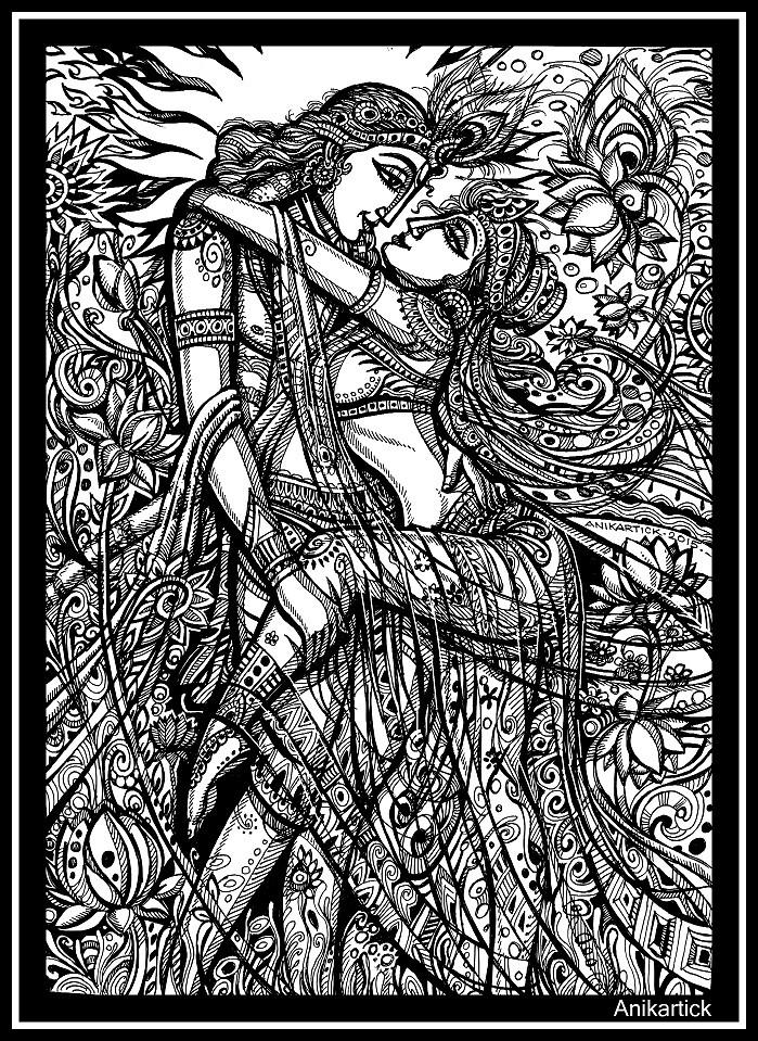 Lord KRISHNA And Goddess RADHA Divine Love Art Pen D
