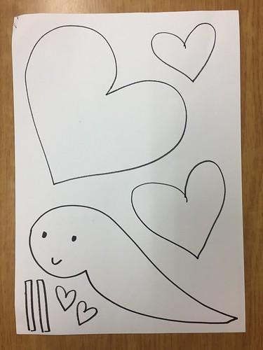 발렌타인데이 하트 달팽이 밑그림
