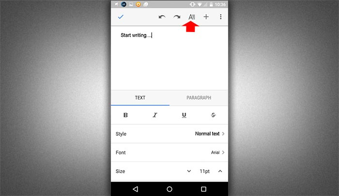 How to create word document in smartphone step 4