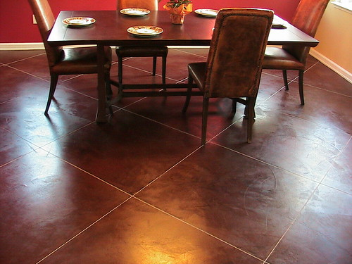 Concrete floors in dining room  Concrete floors dining