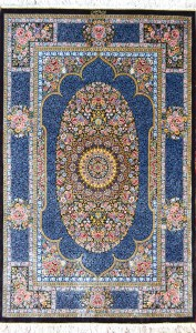 Qum Naiemi Blue Silk Persian Rug Item Hf 8298