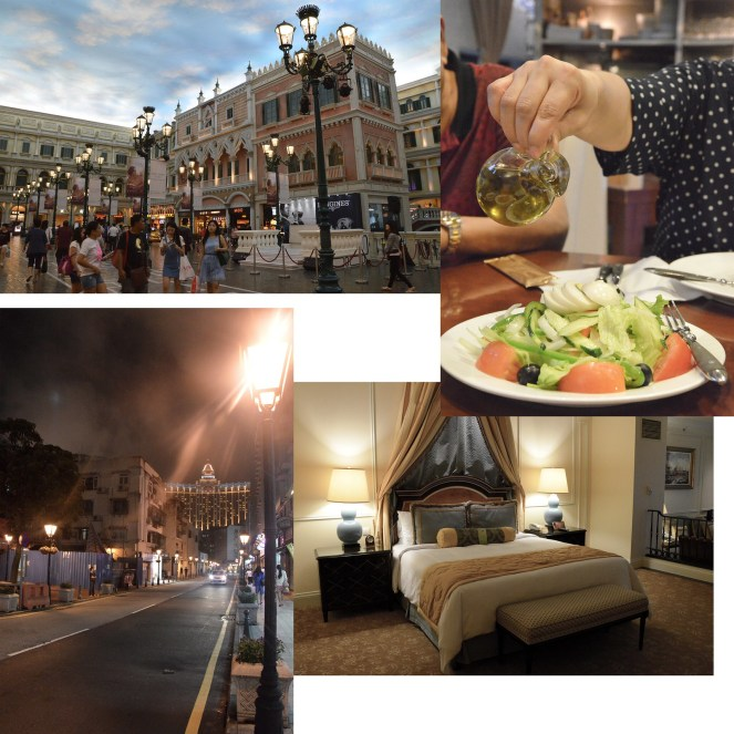 The Venetian Macao hotel room, salad, macau, night time