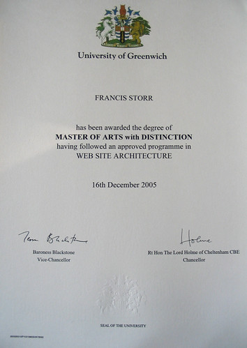 Masters degree with distinction certificate  It was two