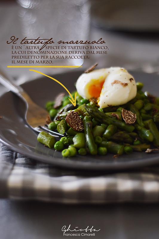 uova piselli asparagi e tartufo