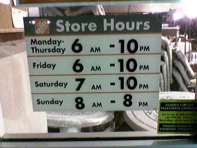 home depot hours  erc stmmel  Flickr