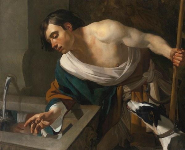 Dirck Van Baburen - Narcissus Gazing Reflection