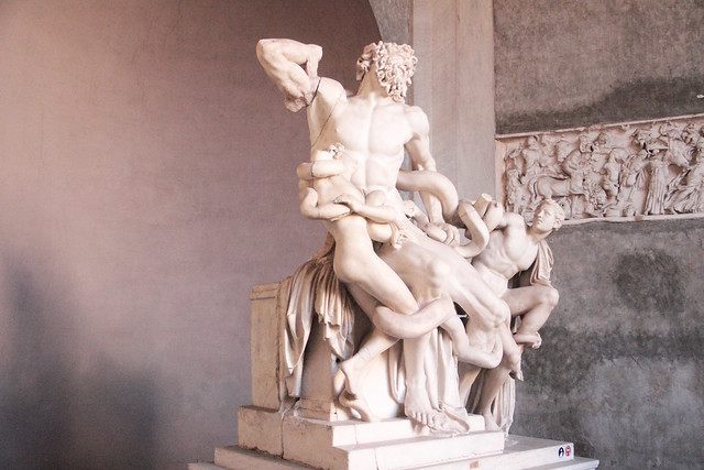 The statue of Laocoon in the Vatican museum