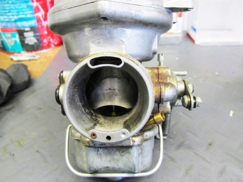Left Carburetor Throat Not Too Grungy