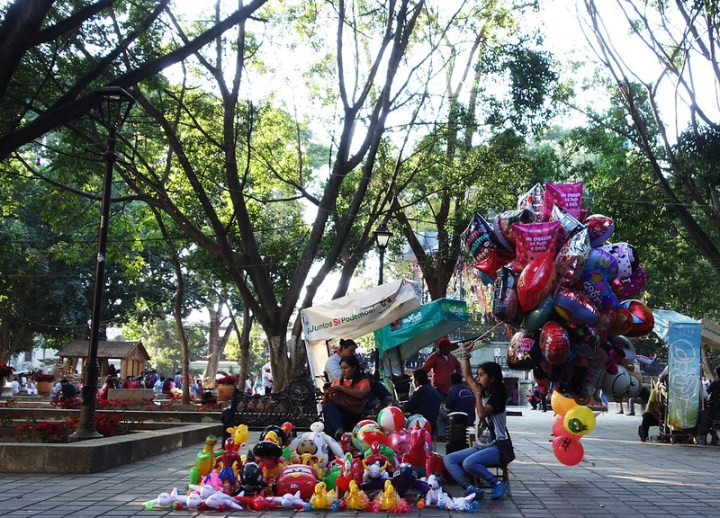 Balloon vendors at Oaxaca City