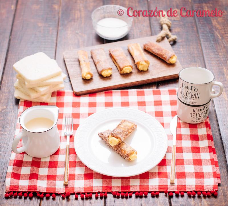 Canutillos torrijas rellenas de crema pastelera