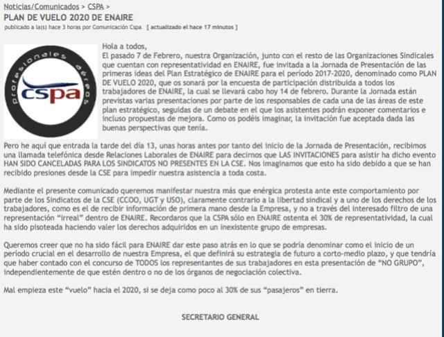 Nota de Prensa CSPA