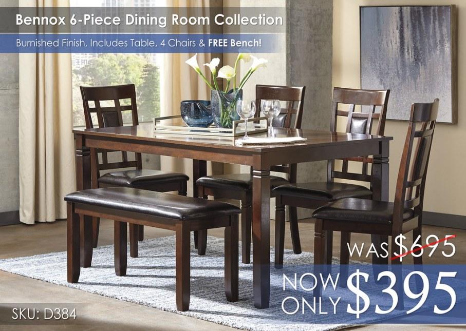 Bennox 6-Piece Dining Room Set D384-325-R400142