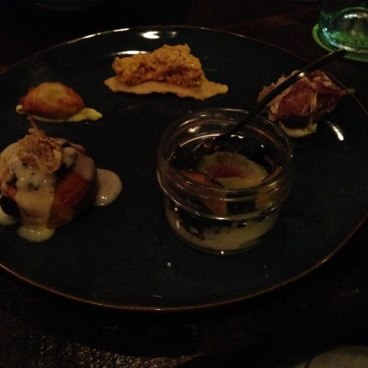 Snack Board: Black Mission Fig, 62* Egg, Salt Cod Beignets, Pimento Cheese, Wild Boar Sticky Bun at Root, New Orleans