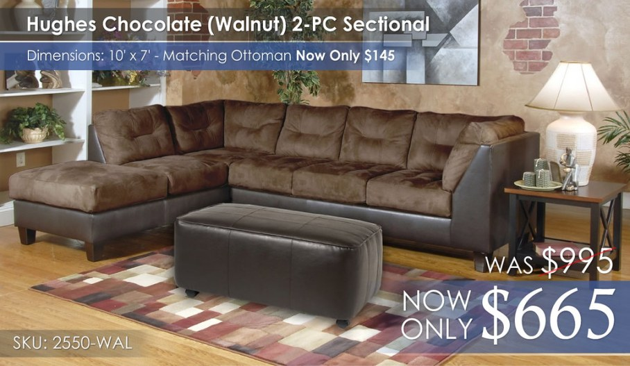 Hughes Walnut Sectional 2550-PC