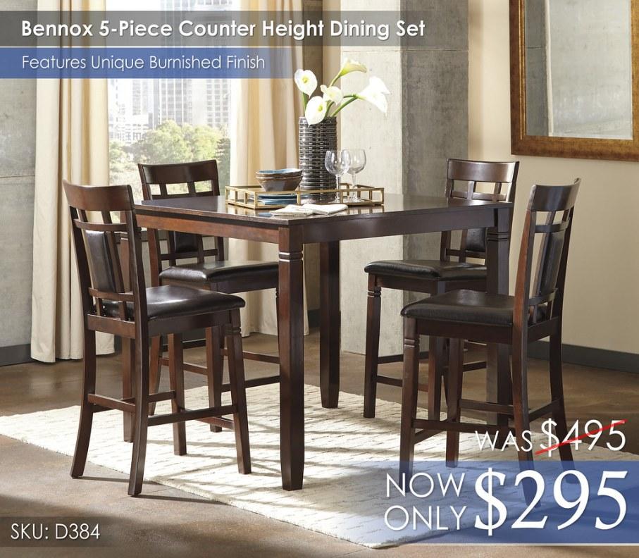 Bennox 5-Piece Counter Height Dining Set D384-223-R400122