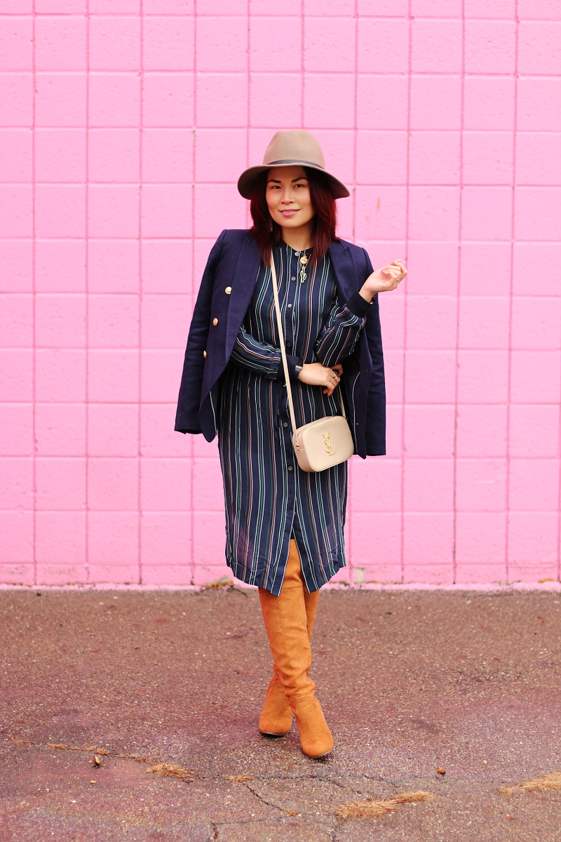 banana-republic-blazer-theory-stripes-dress-otk-boots-floppy-hat-6