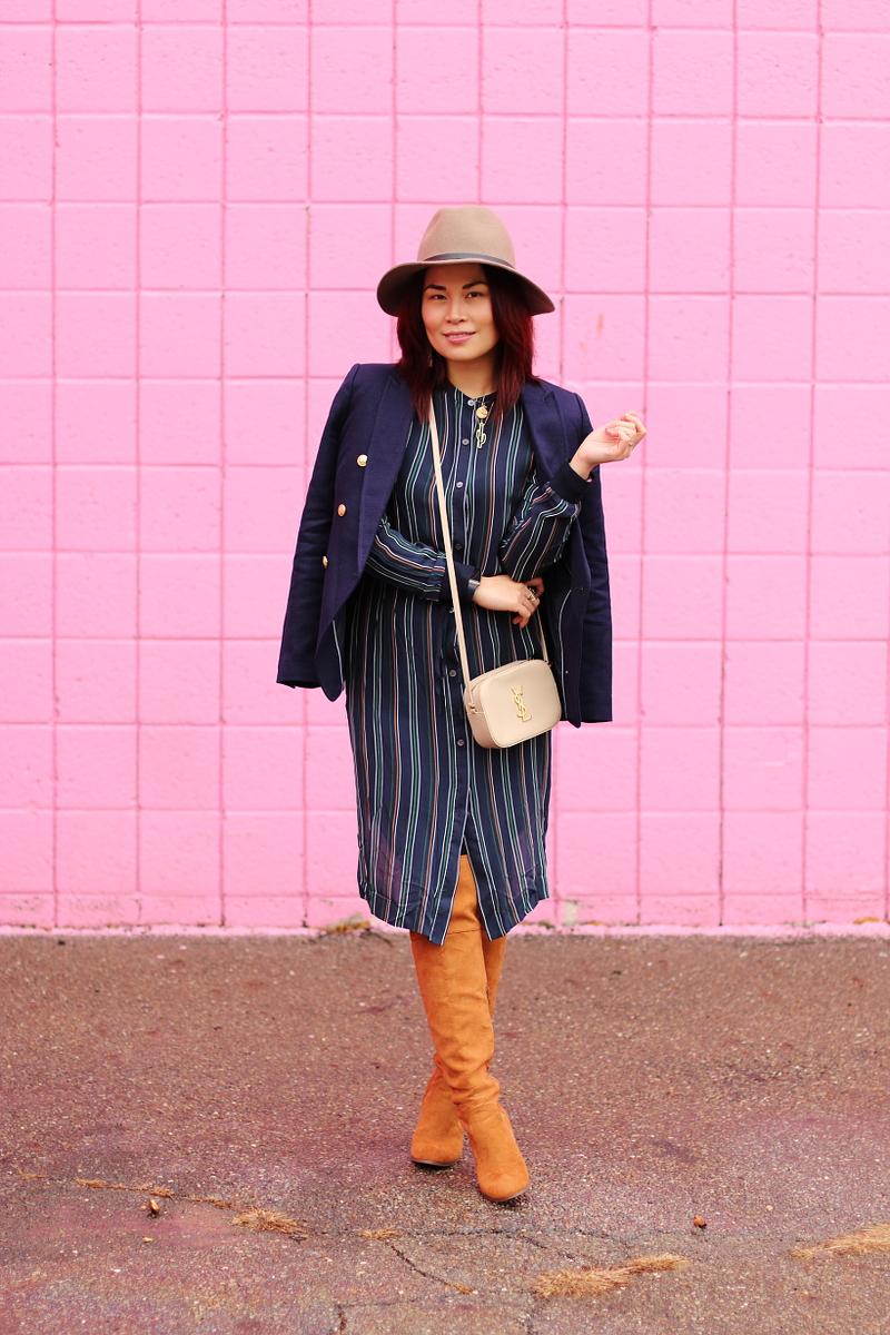 banana-republic-blazer-theory-stripes-dress-otk-boots-floppy-hat-6