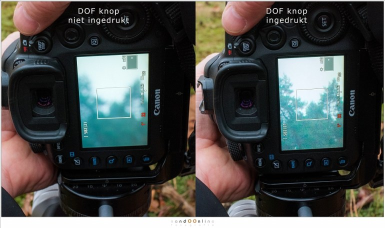 De DOF knop niet en wel ingedrukt: wel ingedrukt laat duidelijk zien tot waar de scherptediepte loopt. In dit geval netjes tot oneindig wat betekent dat de hyperfocale afstand is bereikt (foto: Hetwie)