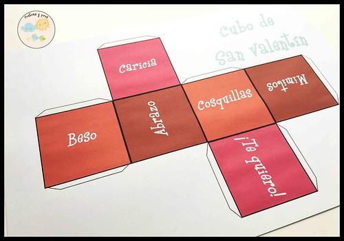 Juego del cubo de San Valentín. Descargable e imprimible gratis