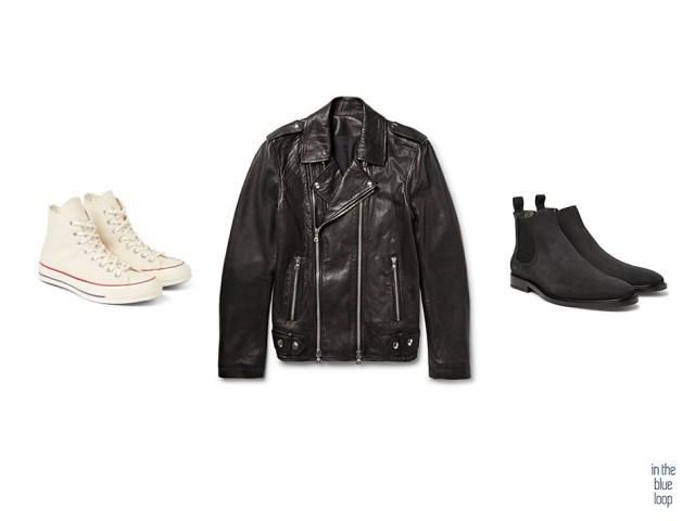 El calzado para llevar una chaqueta de cuero son unas zapatillas Converse o unas botas Chelsea para hombre