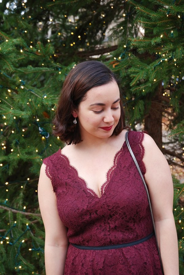Maroon Lace Dress for Christmas - Shades of Sarah