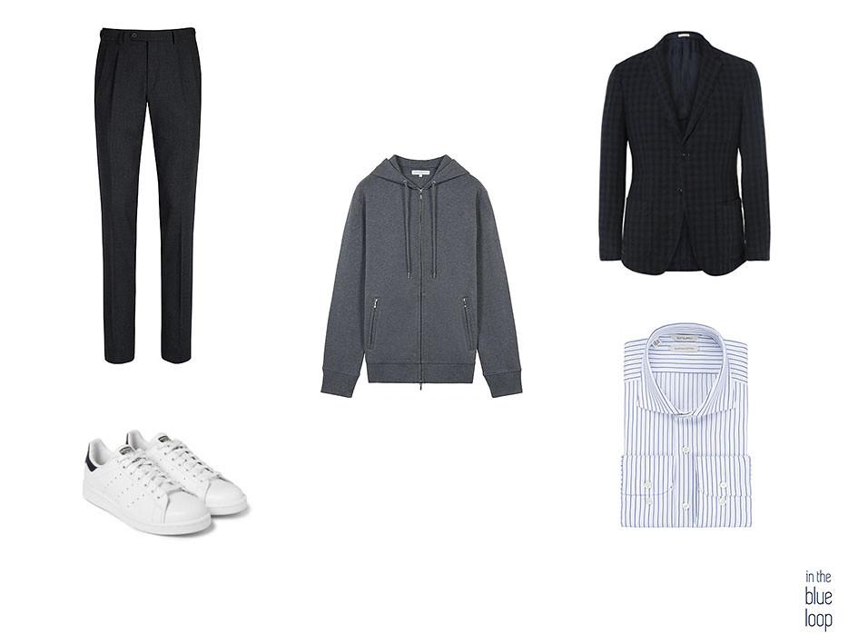 La sudadera masculina en gris se lleva con zapatillas adidas, camisa de rayas, pantalón negro y blazer a cuadros