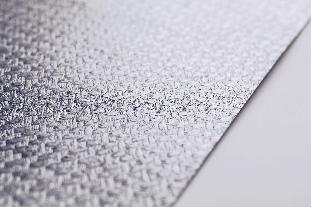 Close up of a paper texture. Silver decorative paper